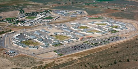 Aerial photography of High Desert State Prison in Susanville, which is in northeastern California.