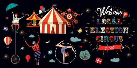 """Graphic image of circus acts and the words """"Welcome to Local Election Circus 2020"""""""
