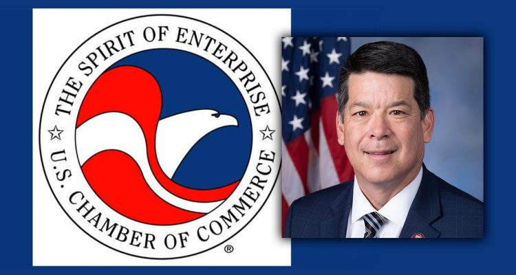 Side-by-side images of the U.S. Chamber of Commerce logo and Rep. TJ Cox of Fresno, California