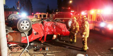 Photo of a truck wreck in Lake Forest, California