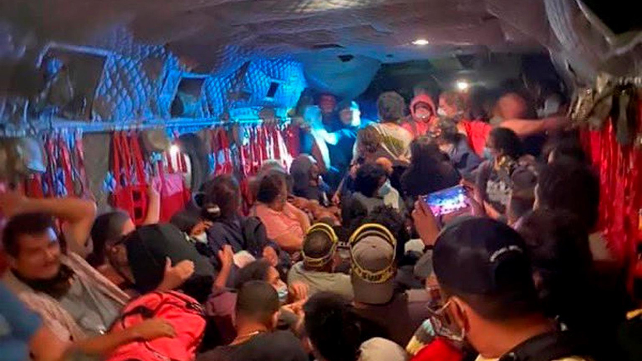Photo of interior of a California National Guard helicopter jammed with people rescued from the Creek Fire at Mammoth Pool on Saturday, Sept. 5, 2020