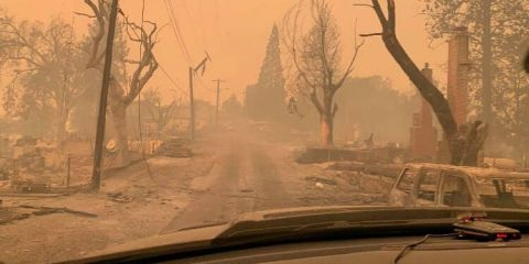 Photo of Big Creek, California, on the morning of Sunday, Sept. 6, 2020, after the Creek Fire.S