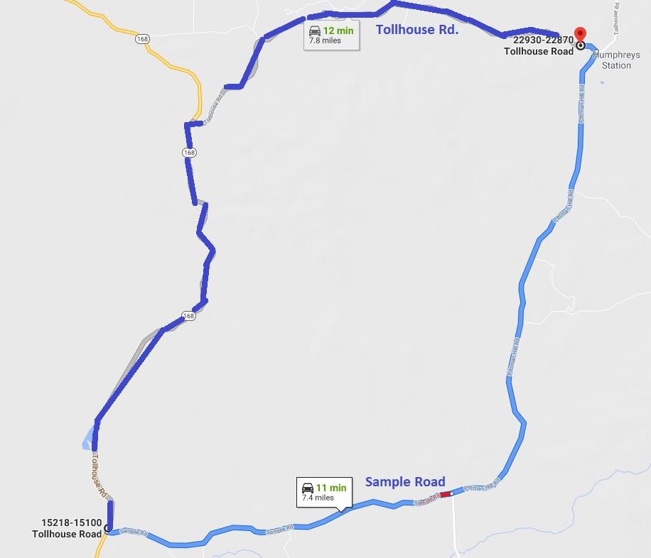 Sample Road evacuation order map