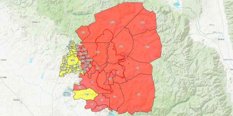 Map of Creek Fire evacuation zones