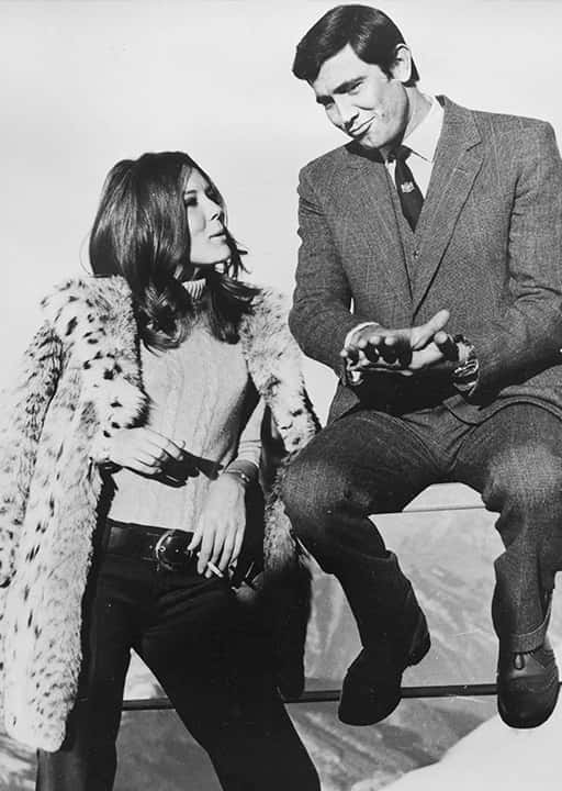 Sean Connery's replacement as James Bond, George Lazenby is pictured with British actress Diana Rigg.