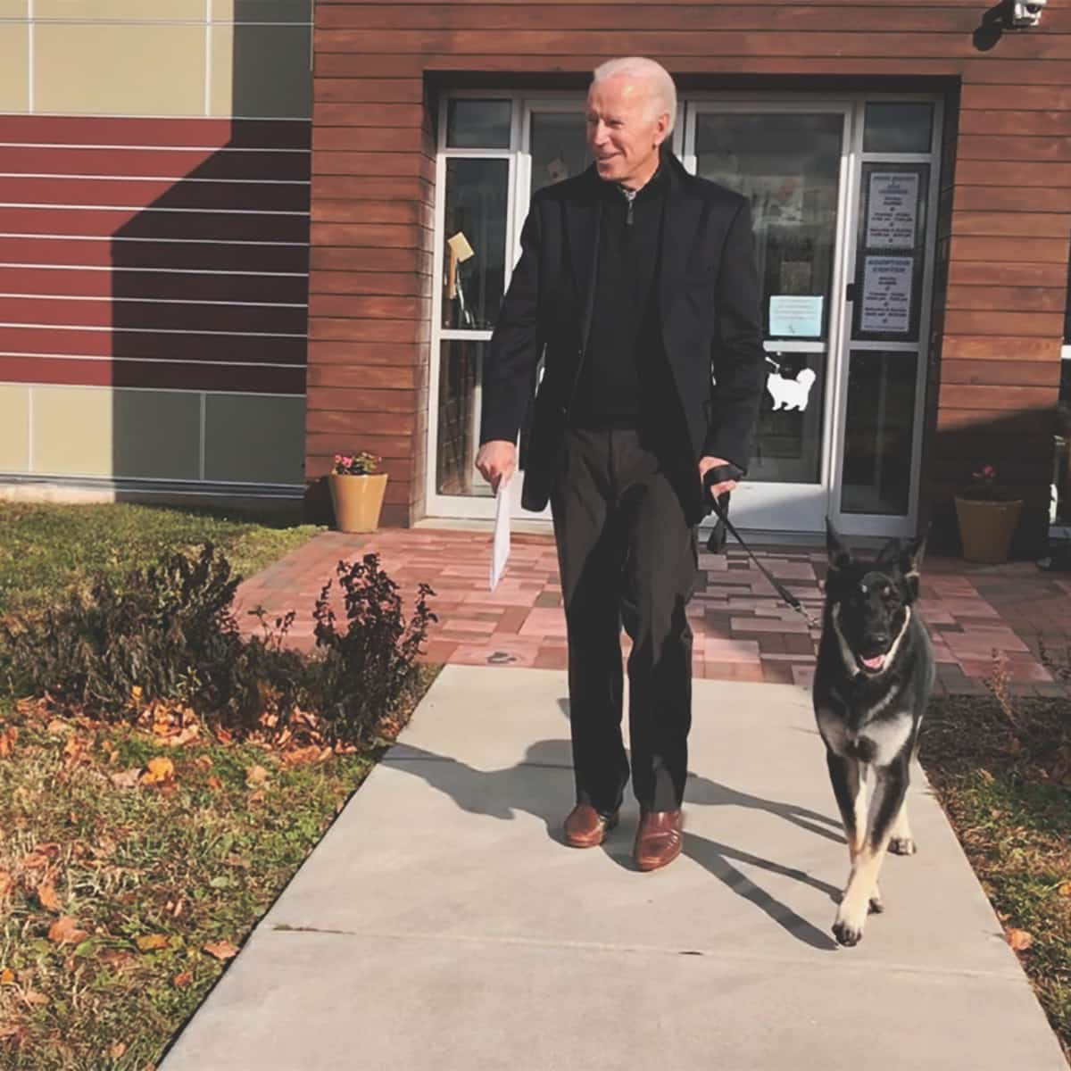 FILE – This Nov. 16, 2018, photo, file provided by the Delaware Humane Association shows Joe Biden and his newly-adopted German shepherd Major, in Wilmington, Del. President-elect Biden will likely wear a walking boot for the next several weeks as he recovers from breaking his right foot while playing with his dog Major on Saturday, Nov. 28, 2020, his doctor said. (Stephanie Carter/Delaware Humane Association via AP)