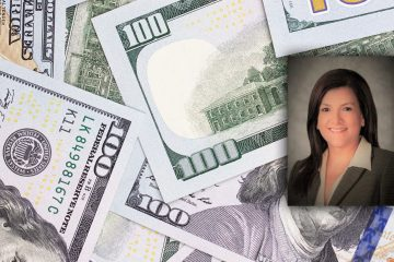 Portrait of former FUSD CFO Ruthie Quinto and a montage of $100 bills