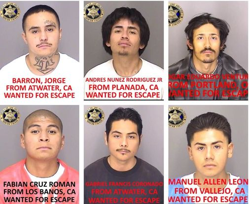 Mug shots of six Merced County jail escapees