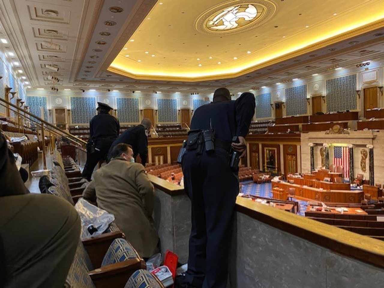 Jim Costa photo, Preparing for evacuation from House Chambers