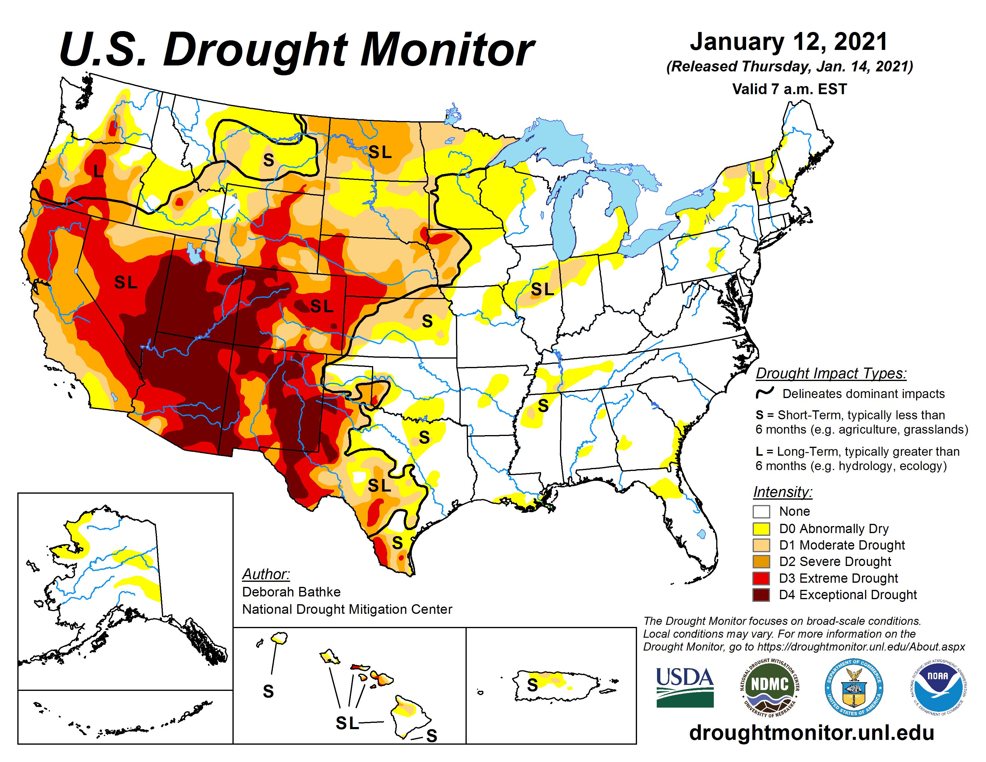 US Drought Monitor Map, Jan. 14, 2021