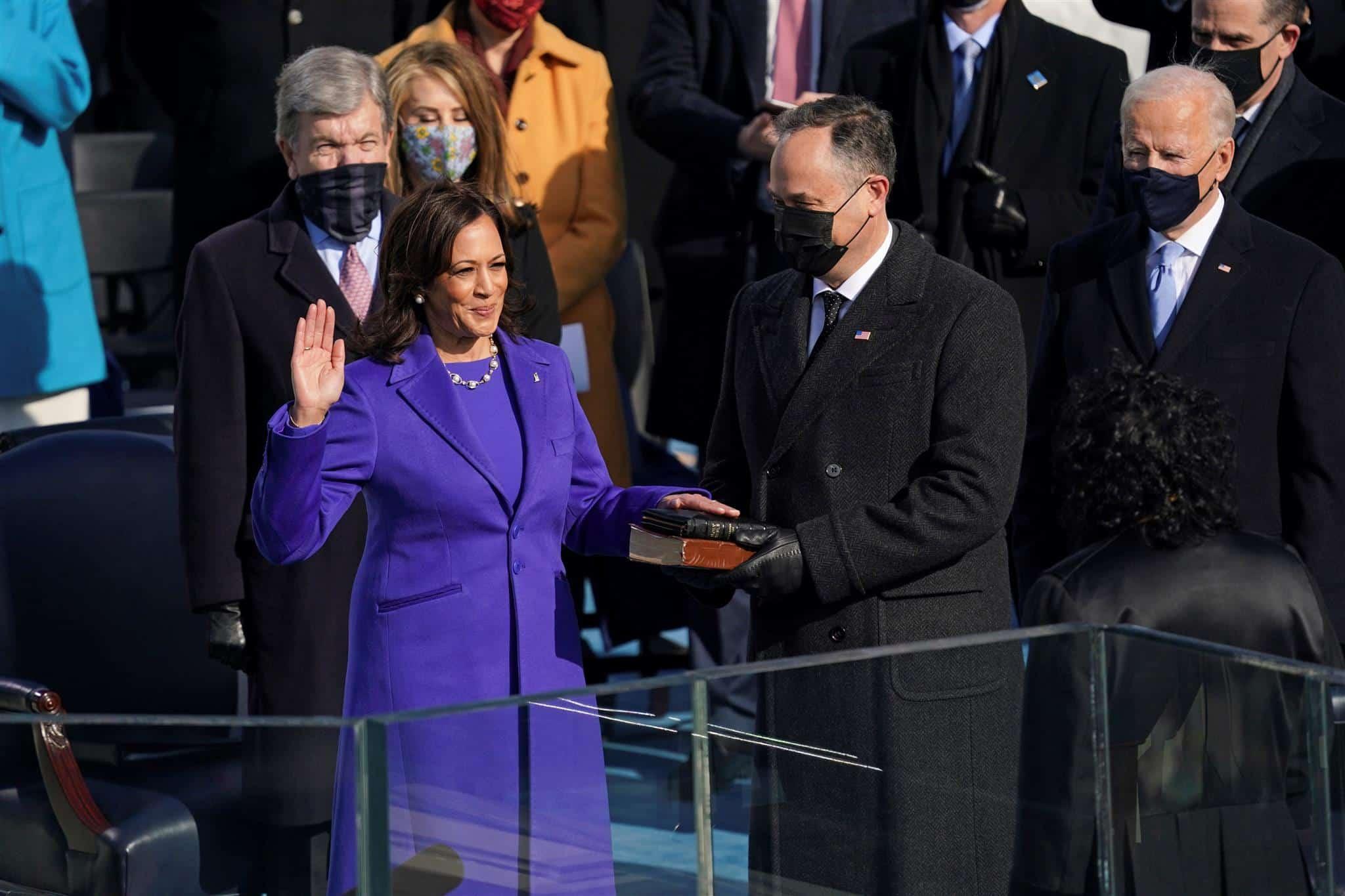 Photo of Kamala Harris being sworn in as vice president
