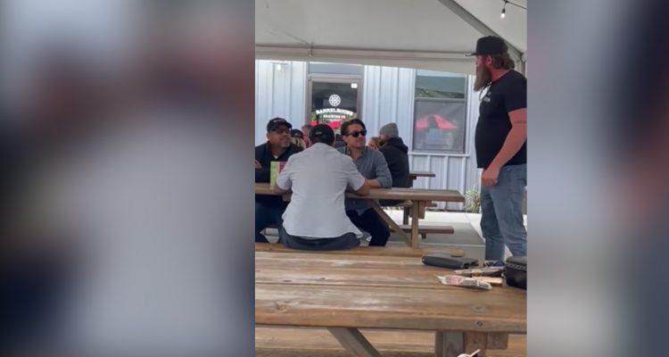 Conservative Fresno activist Ben Martin confronts Fresno City Councilmember Miguel Arias at a Central Coast restaurant on Sunday, April 11, 2021.